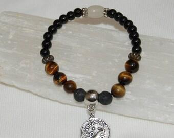 Capricorn Zodiac Sign Gemstone Charm Bracelet Tigers Eye Black Tourmaline Bracelet Stackable Zodiac Jewelry Calming Meditation Bracelet Her