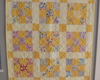 "Antique Yellow Nine Patch Wall Hanging or Quilt for 18"" Doll"