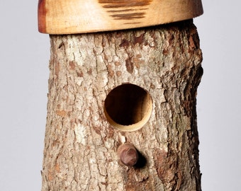 Handcrafted One of a Kind Holy Log Wooden Hummingbird House with Bark - Rustic Birdhouse - Wooden Birdhouse - Hummingbird House