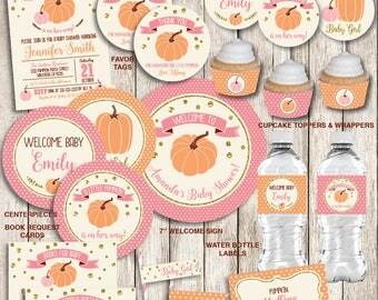 Little Pumpkin Baby Shower Decorations Package, Pink Gold Baby Shower, Girl Fall  Baby Shower