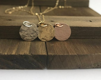 Hammered Coin Necklace | Disc Necklace | Minimalist Necklace | Layering Necklace | Gold Silver or Rose Gold