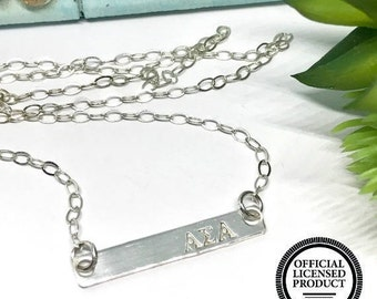 Alpha Sigma Alpha Bar Necklace - Personalized ASA Jewelry - The Charmed WIfe - Sorority Gifts - Sterling SIlver Jewelry - College Girl Gifts