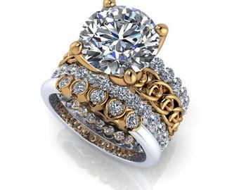 18 kt Yellow Gold & Palladium Bridal Set - Insieme™ Bridal Stackables - Moissanite Bridal Set On Sale