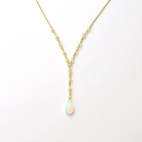 14K Gold. Ethiopian Opal necklace.