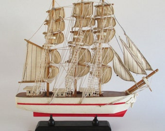 Model Ship, Vintage Full Rigged Three Masted Barque Square Rigged Barkentine Tall Ship, Figurehead, Nautical Decor, Office Den, White Red