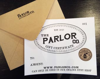 GIFT CERTIFICATE -The Parlor Apothecary