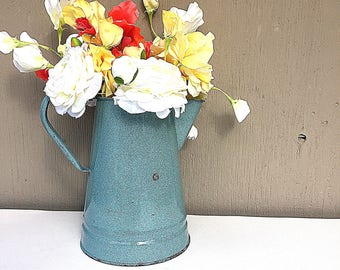 Blue Enamel COFFEE POT   Large Vintage c.1930's Graniteware Coffee Pot   Blue & Grey Speckle Enamelware   As-Is NO Lid   Rustic Enamel Ware