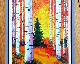 Autumn Birches Blank Greeting Card