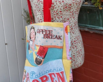 Shopper Bag in a retro advertising print fabric. FREE UK P & P. Fully lined and washable. Canvas handles.