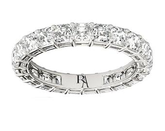 Almani Cornelia Ring 14K Shared Prong Asscher Diamond Eternity Band 2ctw.