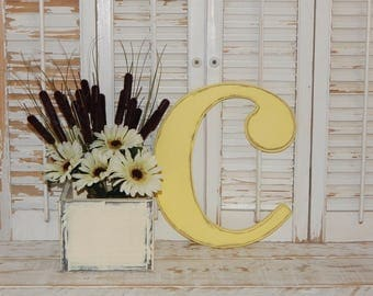 Distressed Wooden Letter c Or Any Letter Wall Decor / Wedding Decor Lowercase Wood Letters Monogram Initial Wall Art