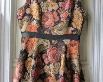ON SALE Women's Vintage floral print mini- dress / Gold & Black Rose print party dress / Parisan Collection / flirty tank dress /small to me