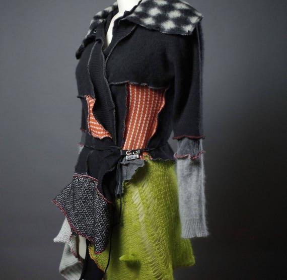 Patchwork Cashmere Cardigan Coat - One of a kind Cardigan Coat - Ecofriendly Clothing - Upcycle Clothing - Cashmere Cardigan
