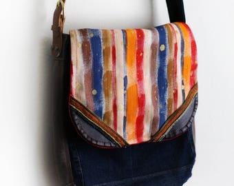Painted Purse Crossbody Messenger Bag Upcycled Denim Handmade Unique