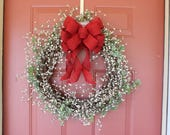 red wreath bow, burlap bow, burlap decor, rustic bow, burlap wreath bow, wreath bow, red wreath bow, Etsy, handmade