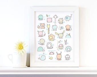 ABC nursery animals print