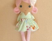 Fabric Doll Rag Doll 20 Inch Pink Haired Girl in Pale Green Unicorn Patterned Dress with Pink Shoes