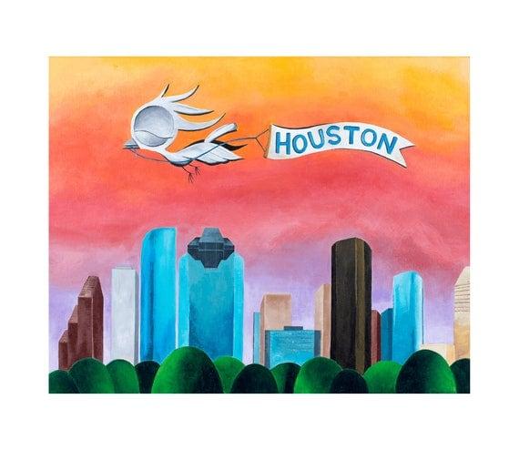 Houston Skyline Art Print - Dream Bird Art, Houston Downtown Skyline, 8x10, 11x14, 16x20 Giclee Print, Limited Edition