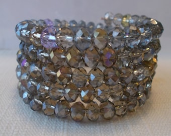 5 Row Smoky Color Crystal Beads Memory Wire  Cuff Bracelet
