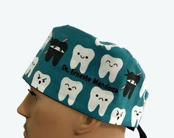 Surgical Scrub Cap - Smiling Ninja Teeth on Teal Blue scrub hats - Dentist Design Unisex Scrub Hats - Surgeons Scrub Cap - Doctors Gift