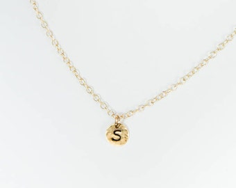 "Initial Necklace - 1/4"" Circle Charm"