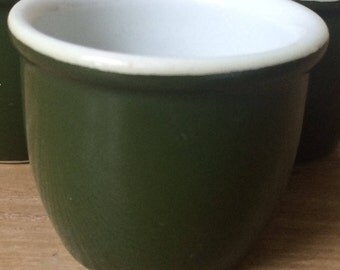 Vintage Hall's Green Custard Cup, Unmarked Ramekin