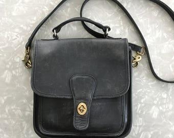 Vintage Coach Purse - Black Leather Crossbody Handbag