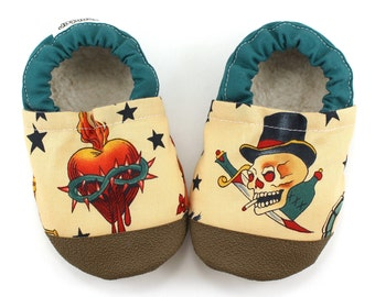 tattoo baby shoes punk rock baby sailor tattoos for baby soft sole shoes baby boy shoe baby girl shoes tan