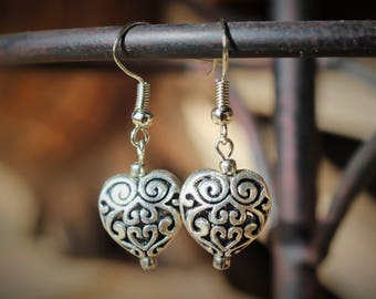 Free Shipping on Filigree Puff Heart Earrings