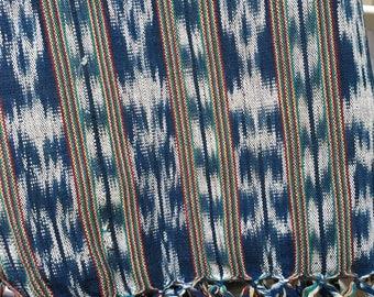 Vintage Ikat Textile - Woven Ikat - Guatemalan Ikat - Indigo Blue