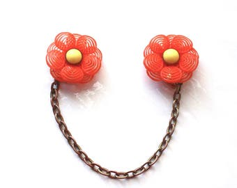 Orange Flower Sweater Clips ~ 1950s Vintage Soft Plastic Floral Dress Scarf Clip Guard