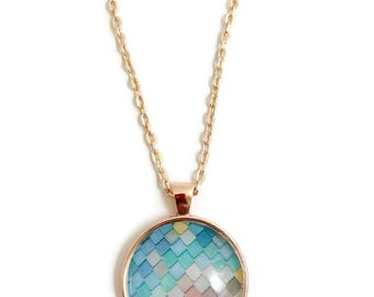 SCALE PENDANT NECKLACE ~  Pastel Necklace, Mermaid Scales, Pendant Necklace, Jewelry, Handmade, Pendant Jewelry, Paper Scales #H401