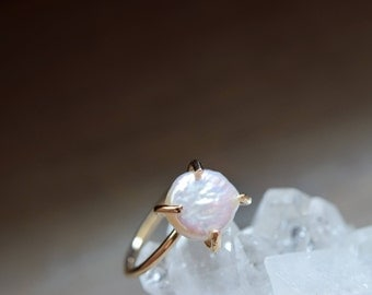 Freshwater Pearl Ring. Gold Fill Ring. June Birthstone. White Pearl Ring. Simple Ring. June Birthday Gift Her. Bride Gift. Anniversary Ring
