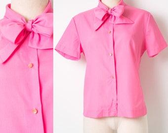 Vintage pink top, 60s Top, Mad Men Top, Vintage Neon Pink Top, Bright Pink Top, Vintage Bow Tie Top, 60s Pink Top, 60s Pink Blouse - M/L