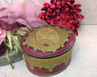 Shabby Vintage Oval Powder Tin Magenta Pink Red Pretty Lady WORN PATINA, Antique Tin Box, Cottage Chic, Boho Chic Décor