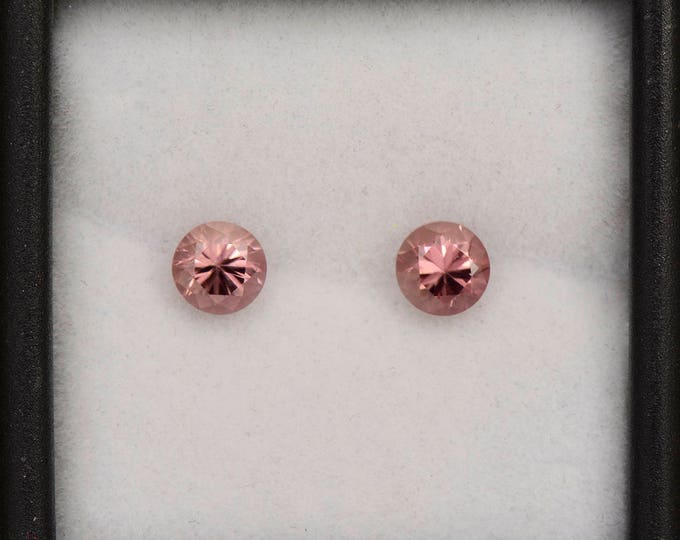 Brilliant Pink Champagne Zircon Gemstone Match Pair from Tanzania 1.53 tcw.