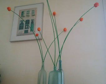 """Bouquet of 9 """"tulips"""" variegated orange on willow"""