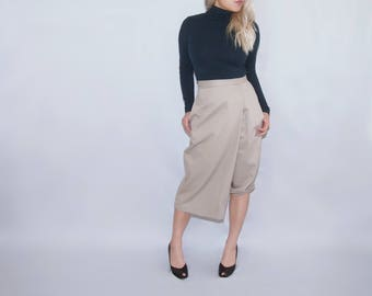 CRUZ - Wrap leg asymmetrical khaki capris pants trousers skirt