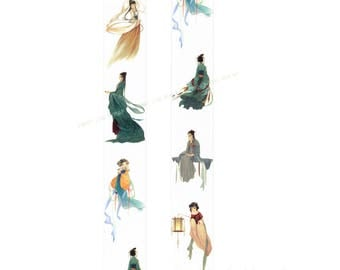 """NEW """"Chinese Ladies"""" Wide Washi Tape - 30mm x 5m - Romantic Poetic Style Vintage Costume - Collage Decoration Paper Crafting Supply"""