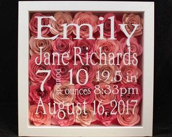 Personalized Baby Shadowbox, Birth Announcement, Handmade Flowers Shadowbox, Birth Stats, Baby Gift, Newborn Gift, Personalized Gift