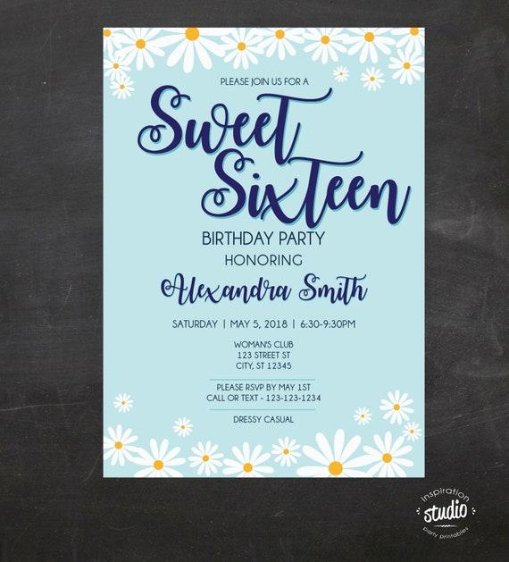 Sweet 16 Birthday Invite 16th Invitation