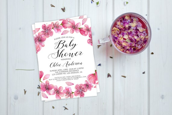 Cherry blossoms baby shower invitation spring cherry blossoms baby il570xn filmwisefo