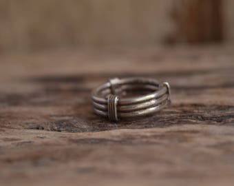 Silver Band Ring - vintage silver rings, casual rings grunge rings, vintage taxco ring, Mexico silver rings, striped silver ring, band rings