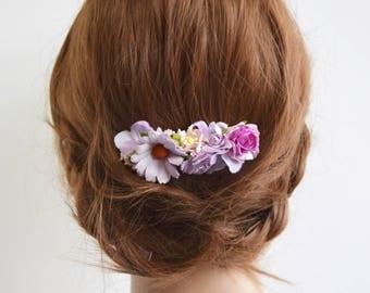 Lilac Flower Comb, bridesmaid floral comb, flower headpiece, floral hair comb, flower hair comb, flowergirl, boho wedding - CASSIDY