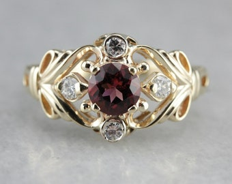 Pink Tourmaline and Diamond Ring, Tourmaline Solitaire, Anniversary Ring, Right Hand Ring P05EERZM-N