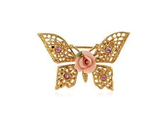 Butterfly Brooch / 1928 Pink Victorian  Porcelain Rose / Pink Rhinestone Butterfly Brooch/ Ceramic Rose Scatter Pin/ Flower Gold Butterfly