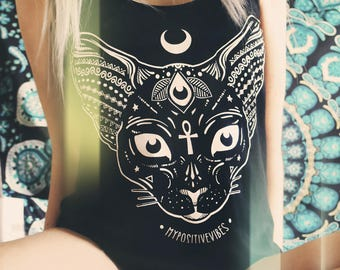 Sphynx Pastel Goth Tank Top - aesthetic shirt pastel goth shirt soft grunge clothing sphynx shirt acid shirt sphynx cat wiccan clothing