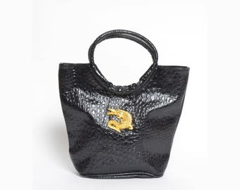 Vintage 90's Faux Leather Alligator Black Handbag Purse with Gold Metal Alligator Ornament