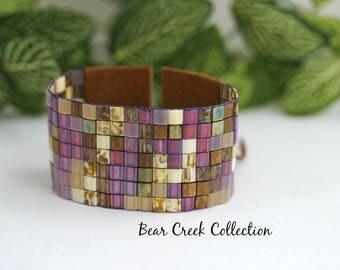 Loomed Bracelet, Orchid, Violet, Purple, Earthy, Wide Bracelet, Tila Bead Bracelet Cuff, Beaded Wrap Cuff, Bohemian Style Jewelry