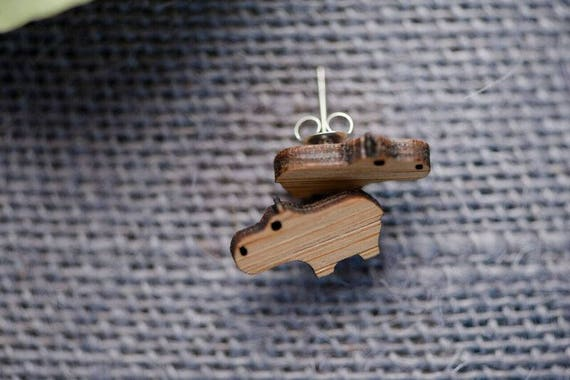 Bamboo Hippo Earrings - Surgical Steel Hypoallergenic Hippopotamus Studs - Free Postage Sensitive Earrings